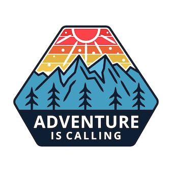 Mountain with sun, adventure label, badge design.