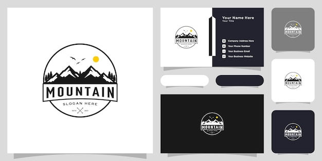 Mountain with sun light logo design and business card