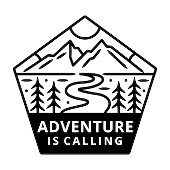 Mountain with sun monoline, adventure label, badge design.