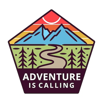 Mountain with sun monoline, adventure label, badge design.