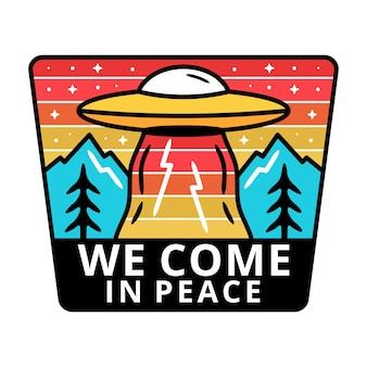 Mountain with ufo monoline, adventure label, badge design.