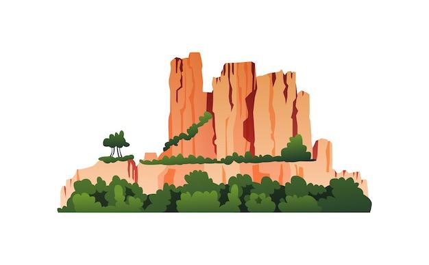Гора с зелеными деревьями растительности на скалистых скалах, траве и кустах, изолированных мультяшный значок вектора