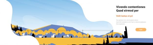 山黄色の風景電力線水平バナーフラットコピースペース