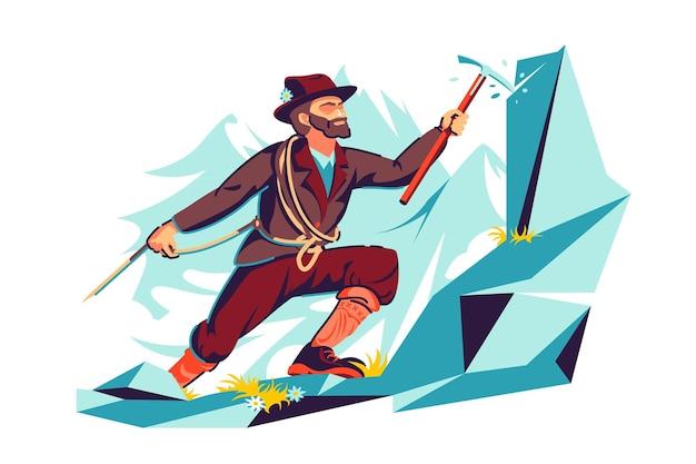 상단 벡터 일러스트 레이 션에 등반 하는 산악인 남자. 남자는 망치와 로프 플랫 스타일을 사용합니다. 오름산 정상, 야외 활동, 하이킹 스포츠, 레저, 취미 개념. 흰색 배경에 고립