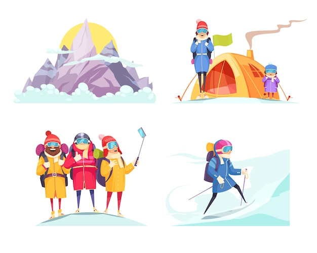 Mountaineering cartoon 4 designs concept square with alpine mountain climbers tent selfie on top isolated