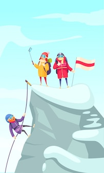 Mountaineering cartoon picture with mountain climbers ascending rock peak and making selfie on the top