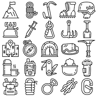 Mountaineering equipment icons set, outline style