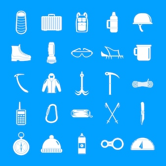 Mountaineering equipment icons set, simple style