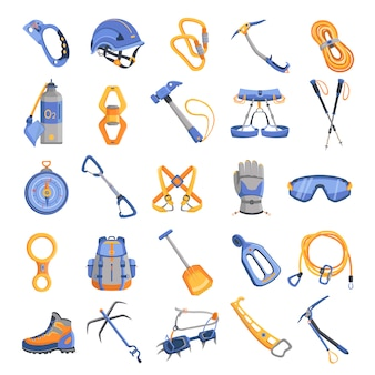Mountaineering equipment icons set