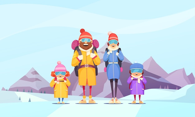 Mountaineering family winter vacation cartoon  with father mother 2 kids against alpine mountains