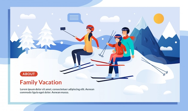 Mountaineering family winter vacation promo poster