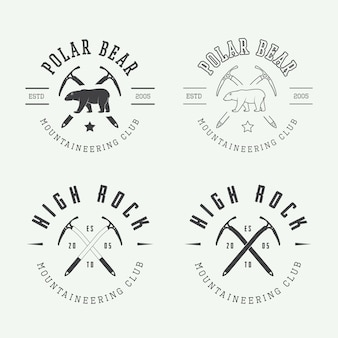 Mountaineering logo set