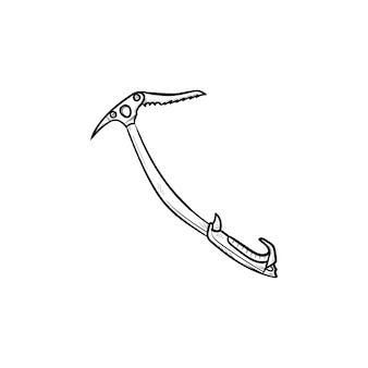 Альпинистская кирка рисованной наброски каракули значок. альпинистское снаряжение, концепция альпинистского инструмента