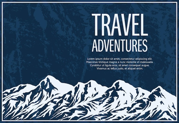 Mountaineering and travelling grunge with huge mountain range silhouette.
