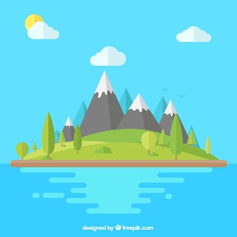 Mountainous landscape background in flat design