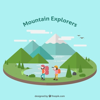 Mountainous landscape illustration with explorers in flat design