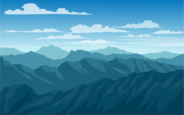 산과 푸른 하늘 풍경