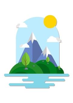 山と新鮮な自然のイラスト
