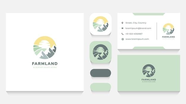 山の風景のロゴのテンプレートと名刺