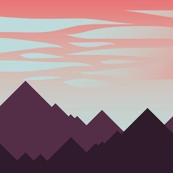 山とピンクの空、雲のデザイン、風景自然環境、屋外テーマ