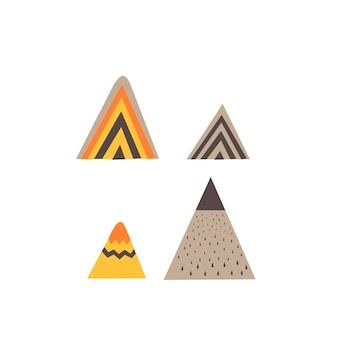 スカンジナビアスタイルの山と虹。手描き