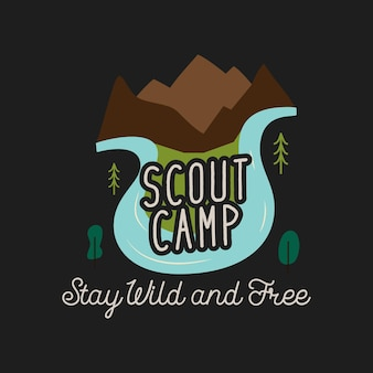 創造的なtシャツのデザインに描かれたスカウトキャンプとステイワイルドアンドフリーの碑文のある山と川