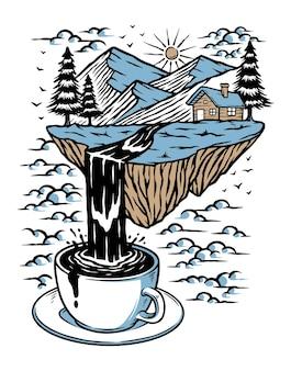 白で隔離されるコーヒーの山と川