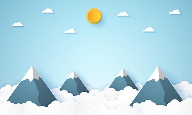 종이 예술 스타일의 산과 하늘