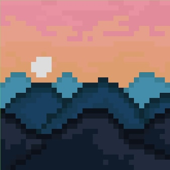 Горы и солнце в стиле пиксель-арт