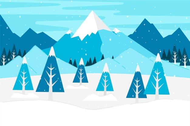 冬の山と木