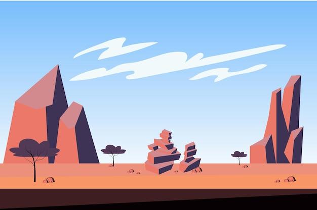 Горы в пустынном пейзаже в плоском мультяшном стиле