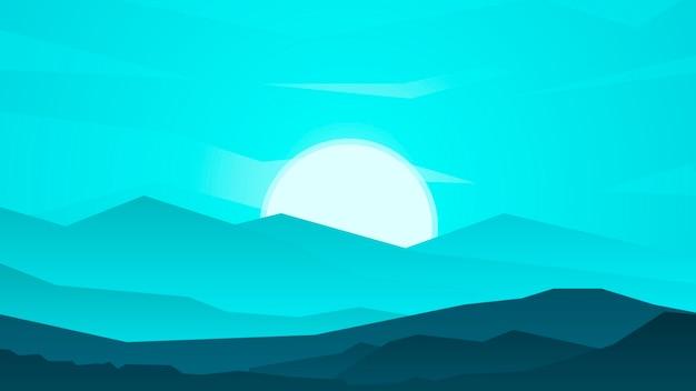 밤에 산, 아름다운 풍경과 일몰