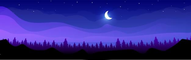 밤 평면 컬러 일러스트에서 산
