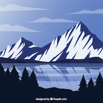 Mountains background and frozen lake