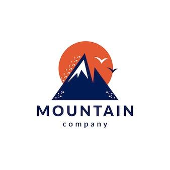 Mountains birds clean style logo design