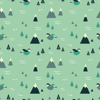 Mountains and birds seamless pattern