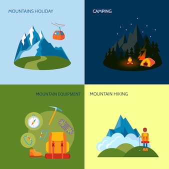 Mountains camping illustrations flat set with holiday equipment hiking