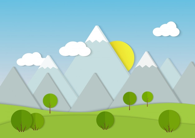 山の段ボール紙の風景