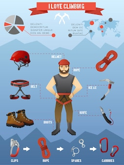 Mountains climbing infographics poster