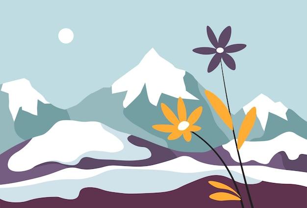 눈과 피는 꽃으로 덮인 산