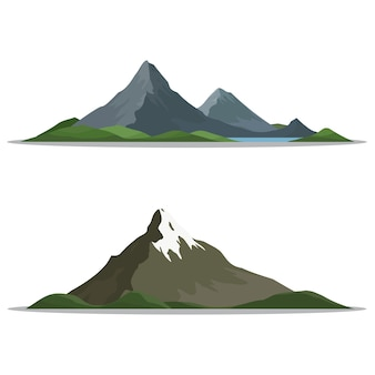 Mountains in different shapes, vector illustration.