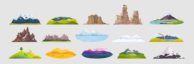 山の落書きセット。岩のオブジェクトの丘の頂上と冬の山頂と砂丘のある屋外の風景を描く漫画スタイルのコレクション。自然の地形旅行観光地のイラスト。