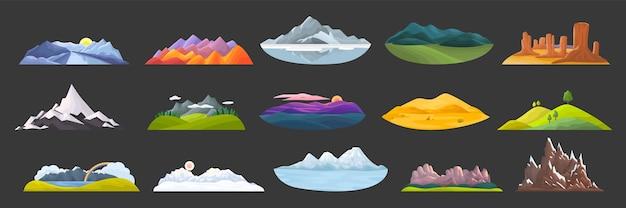 山の落書きセット。岩だらけのオブジェクトの丘の頂上と冬のピークと砂丘のある屋外の風景のsktechesテンプレートを描く漫画スタイルのコレクション。自然の地形と観光のイラスト