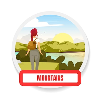 山のフラットカラーバッジ。丘の頂上でのトレッキング。冒険とツアー。バックパッキングと荒野の探検。ハイキングのグラフィックステッカー。遠征分離漫画デザイン要素