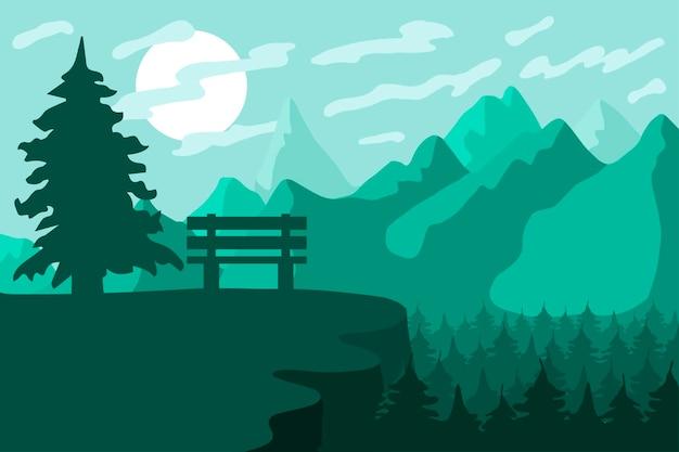 산 숲 보호구 및 벤치 풍경이 있는 공원