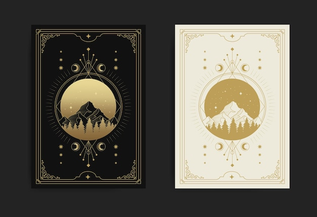 Mountains, forests, full moon, stars and decorated with sacred geometry