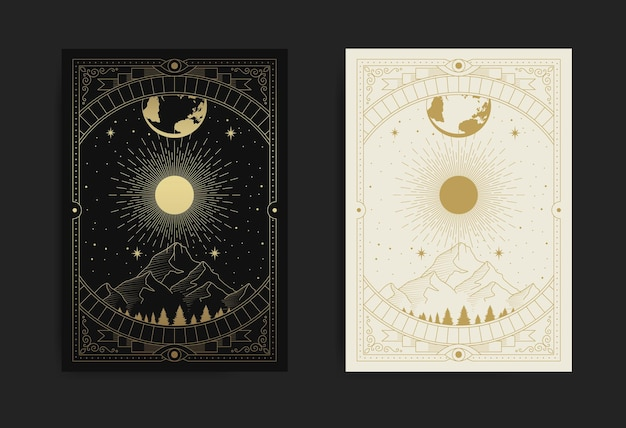 Mountains, forests, moon and stars, symbol of nature
