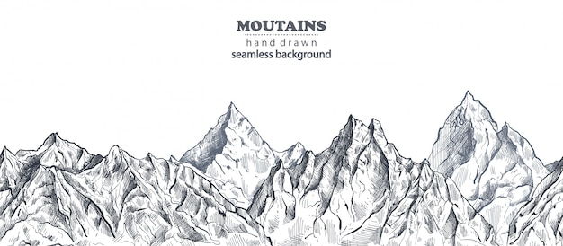 Mountains hand drawn background