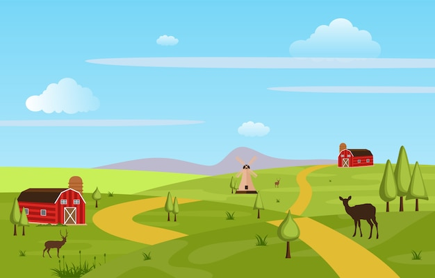 Mountains hills green farm field landscape sky