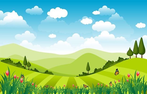 Mountains hills green grass nature landscape sky